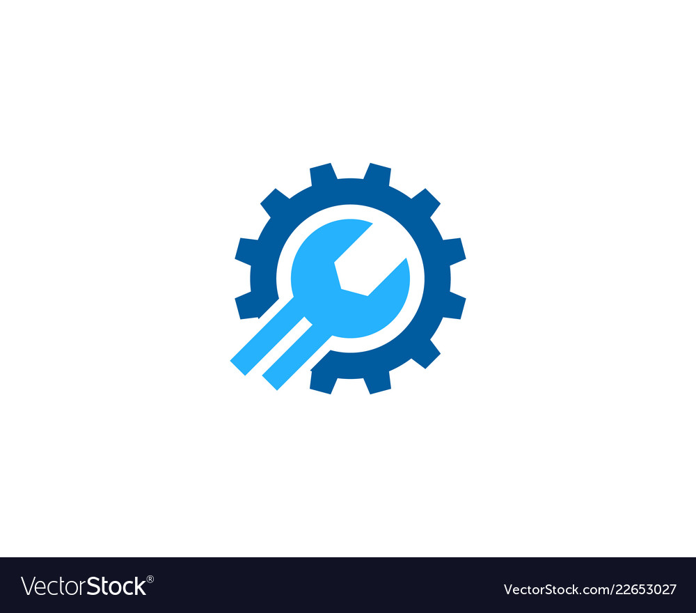 Troubleshooting Logo: Gear Fix And Repair Logo Icon Design Royalty Free Vector