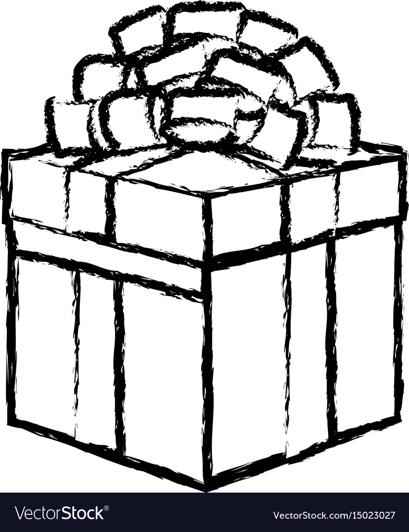Christmas Gift Box Drawing.Gift Box Icon Christmas Present Wrapped With A