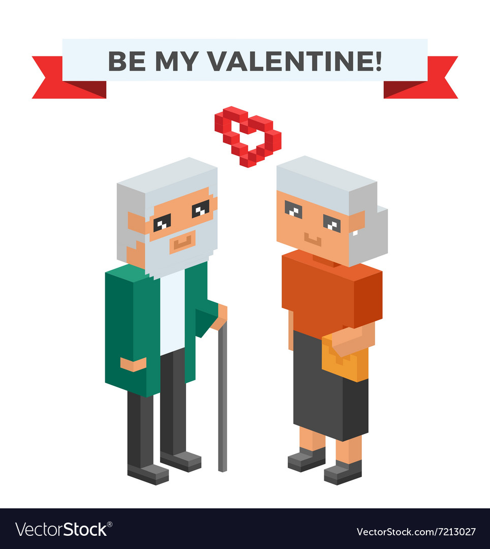 Isometric old family couple in love celebrate vector image