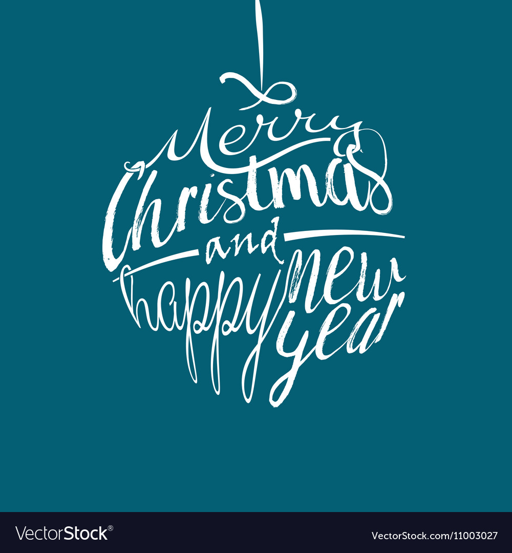Merry Christmas ball lettering vector image