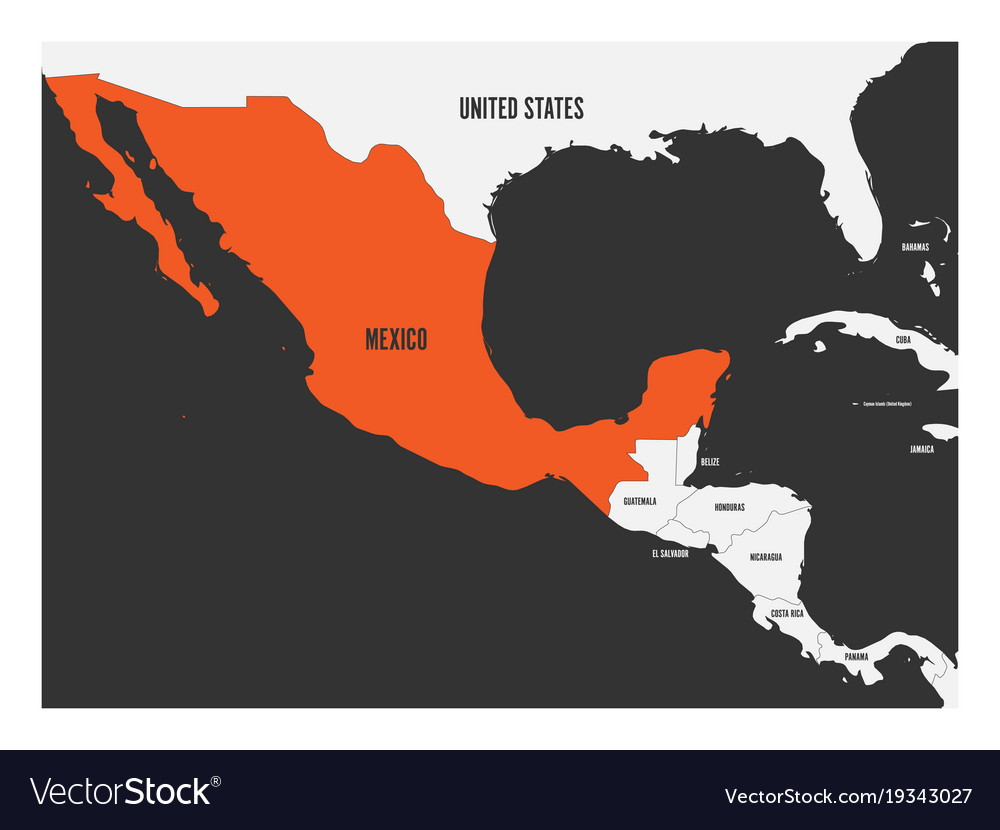 Mexico orange marked in political map of central