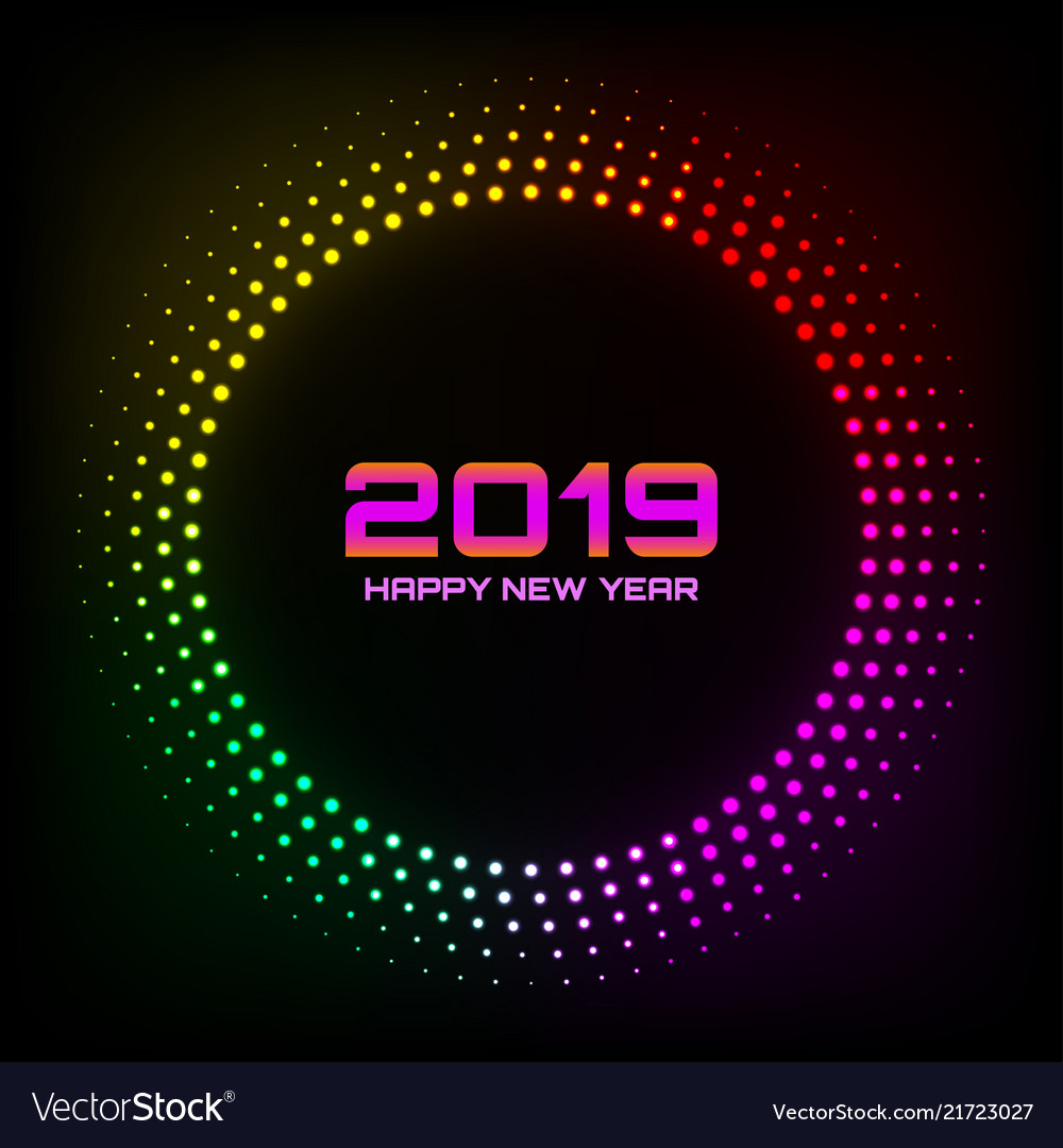 New year 2019 glow brught card background