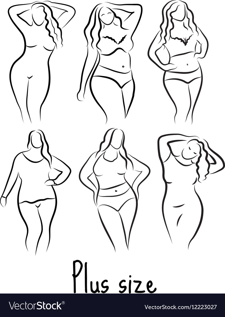 plus size model woman sketch hand drawing style vector image
