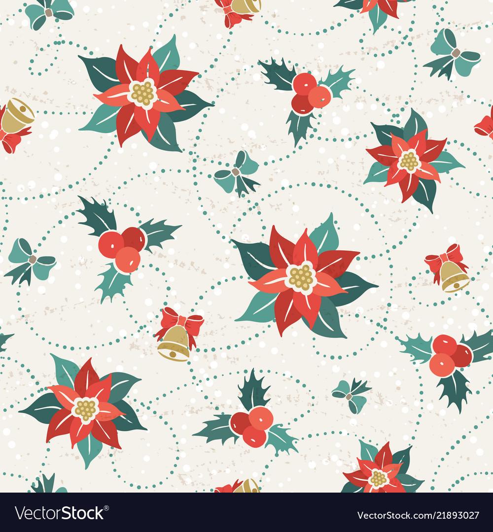 Poisettia seamless pattern