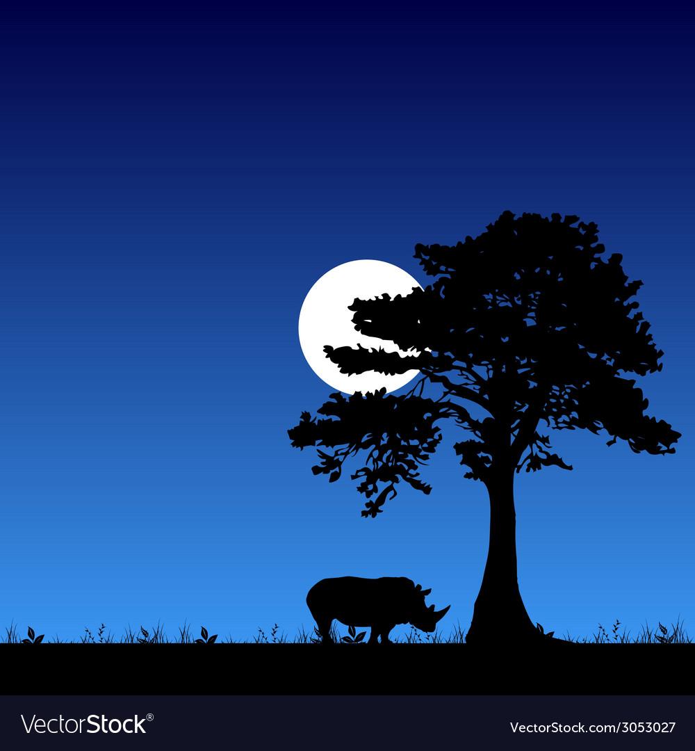 Rhino under the tree and moon