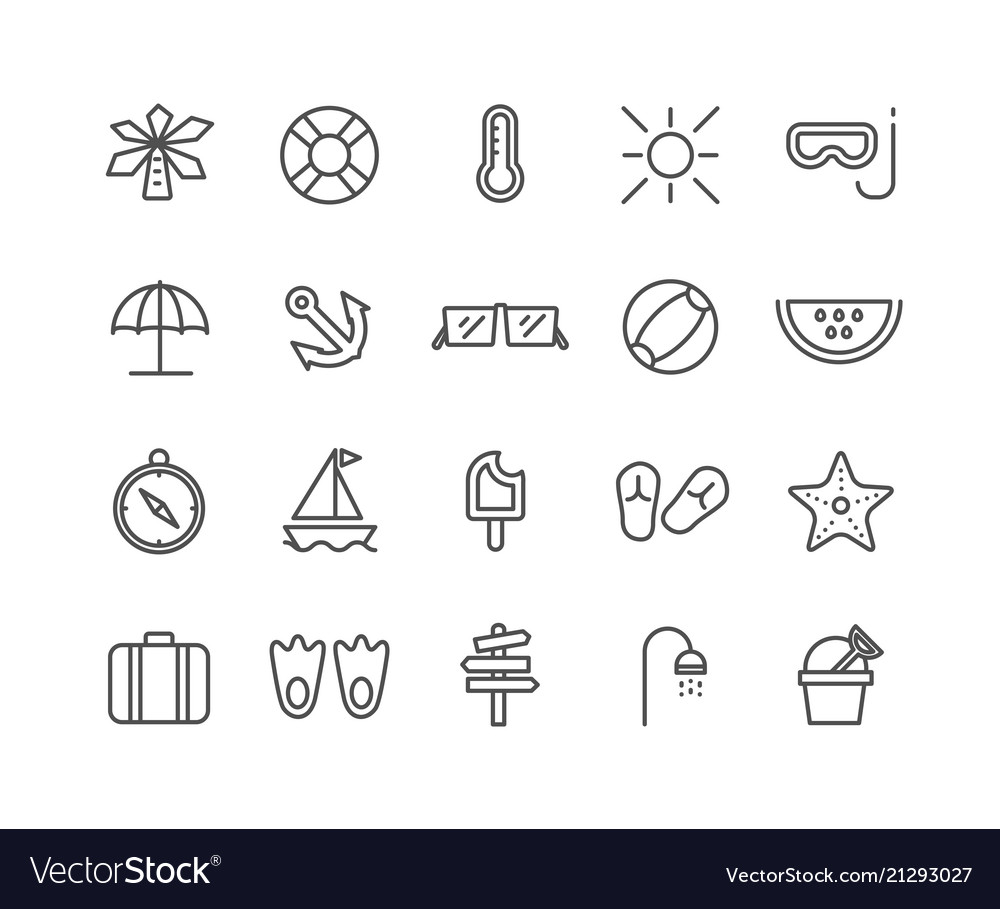 Simple set of summer thin line icons editable