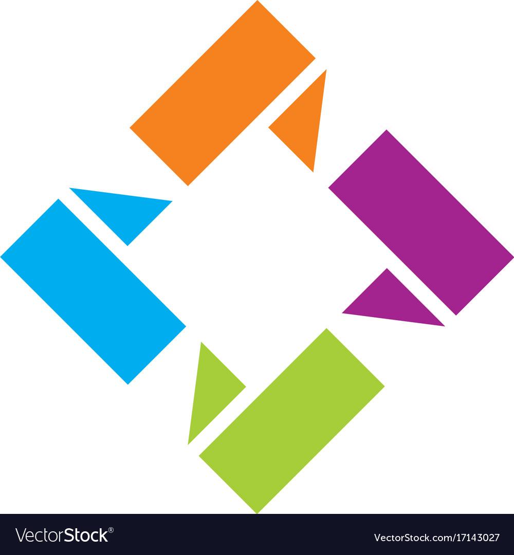 Square 3d shape circle logo