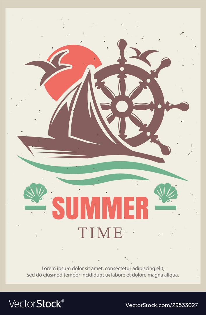 Summer time retro poster design template