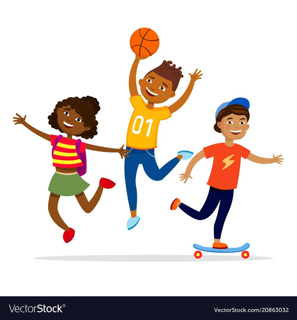 Children sport activities concept flat