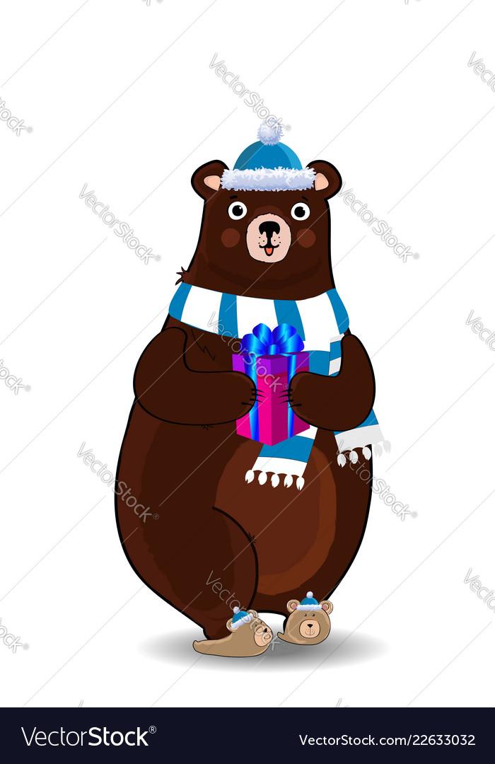 Cute cartoon bear in santa hat and scarf holding