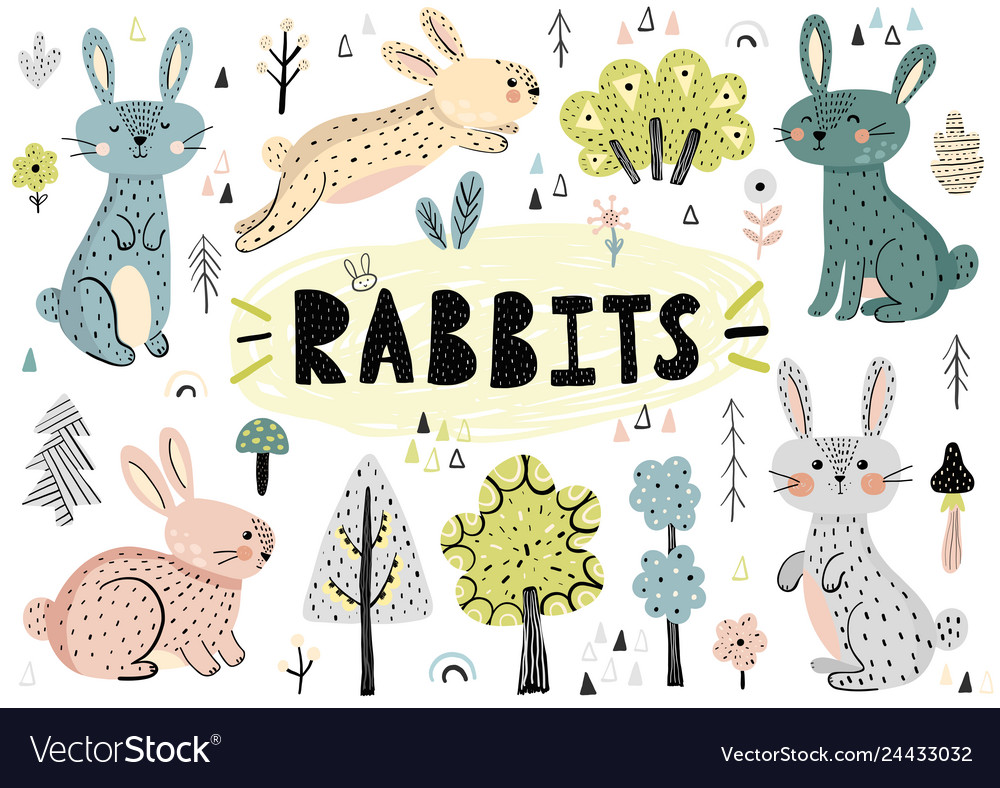 Cute rabbits trees plants and other elements