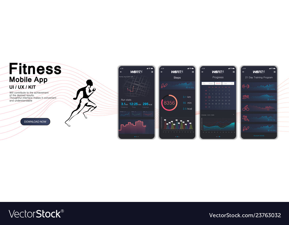 Different ui ux gui screens fitnes app