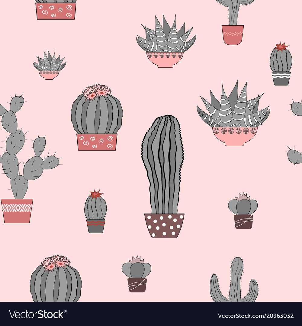 Doodle textured cactuses seamless pattern