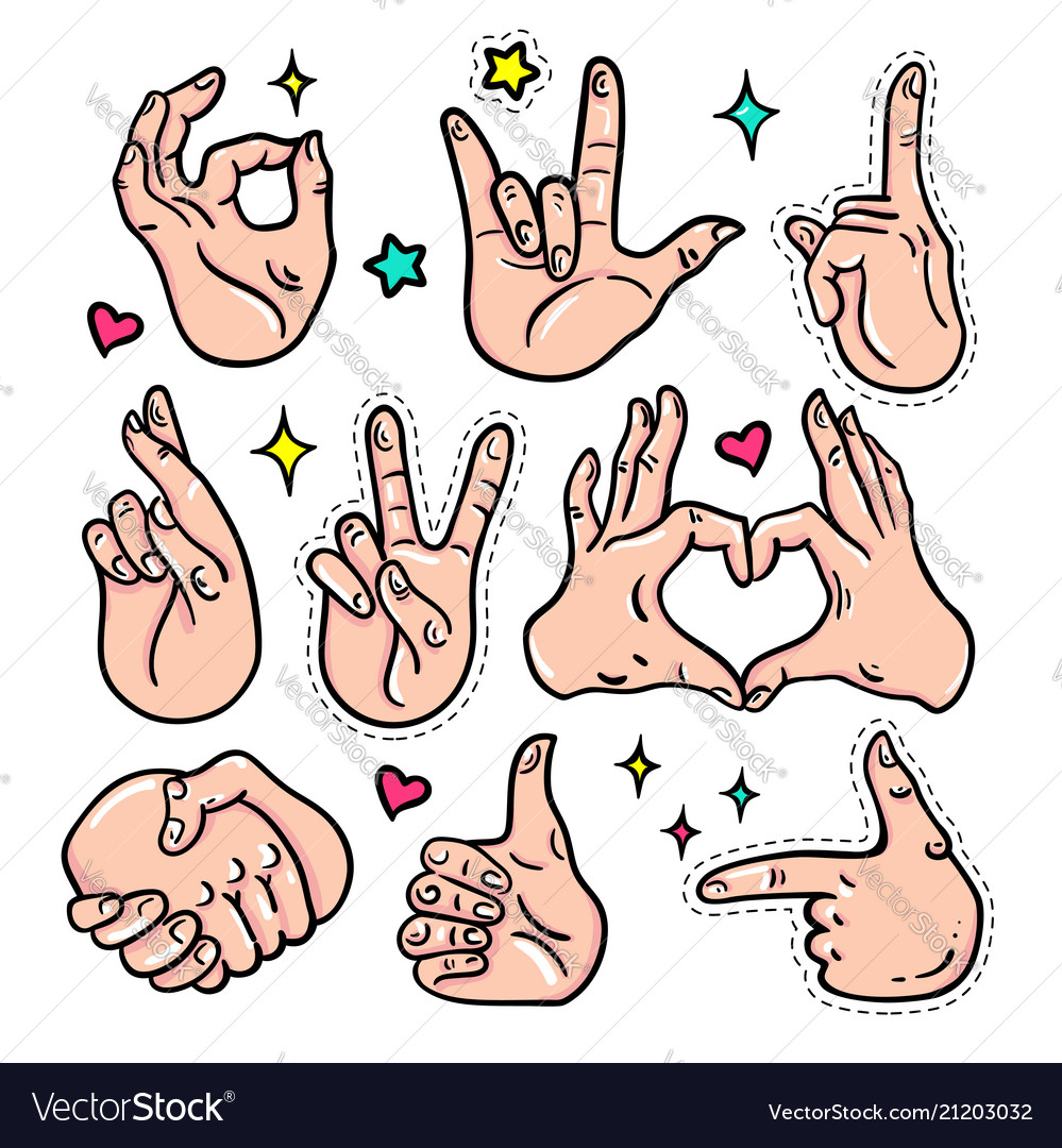 Hand gestures - isolated stickers set