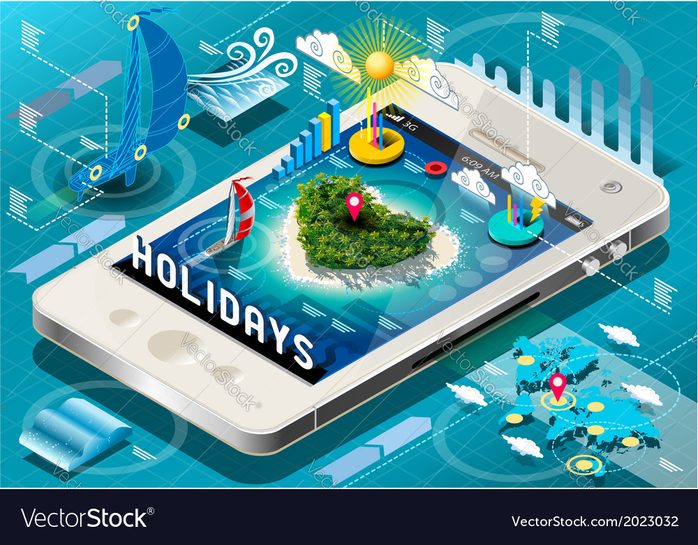 Isometric Holidays Infographic on Mobile Phone vector image