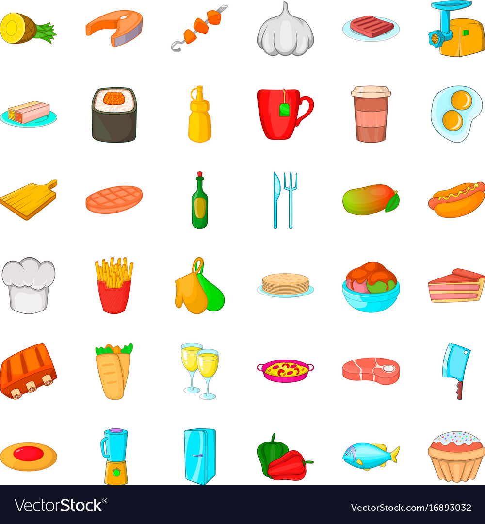 Kitchen icons set cartoon style