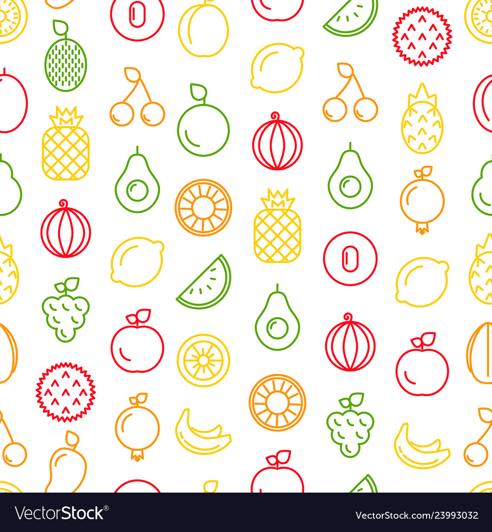 Line fruits icons pattern or background