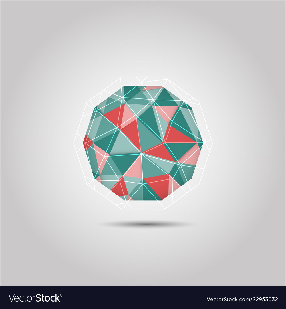 Red and green sphere polygon shape icon
