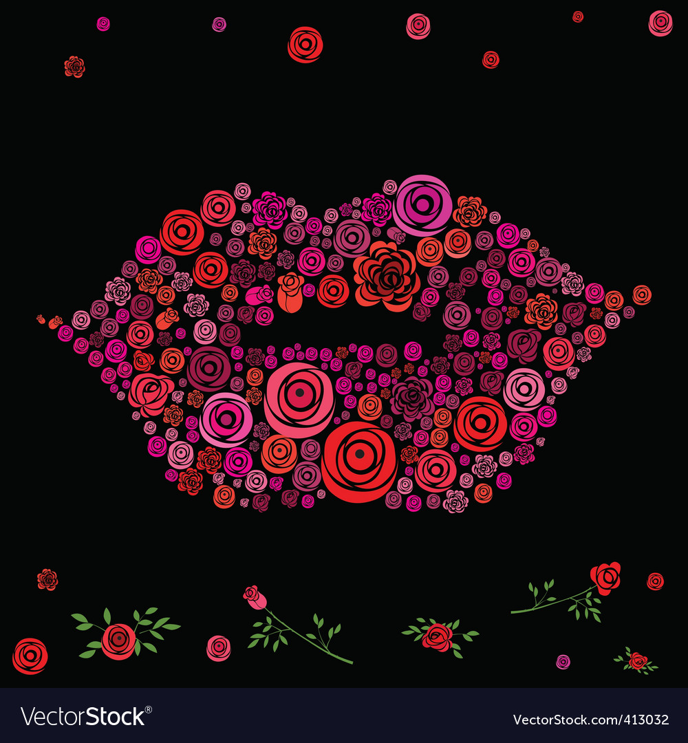 Roses shaped in lips