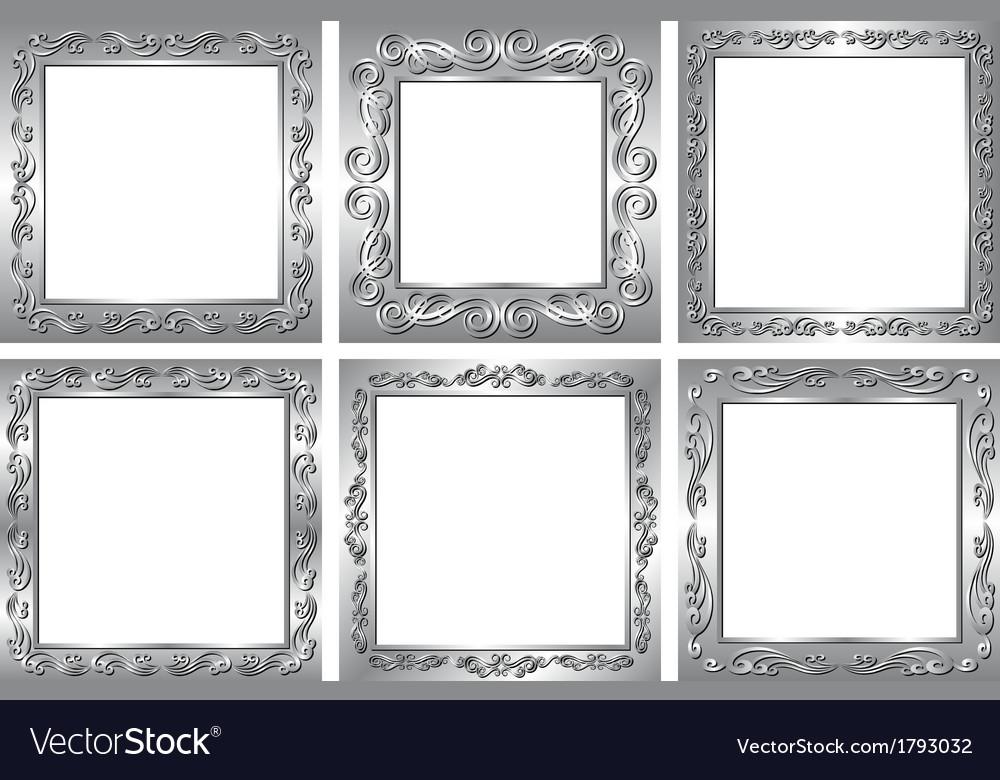 Silver Frames Royalty Free Vector Image Vectorstock