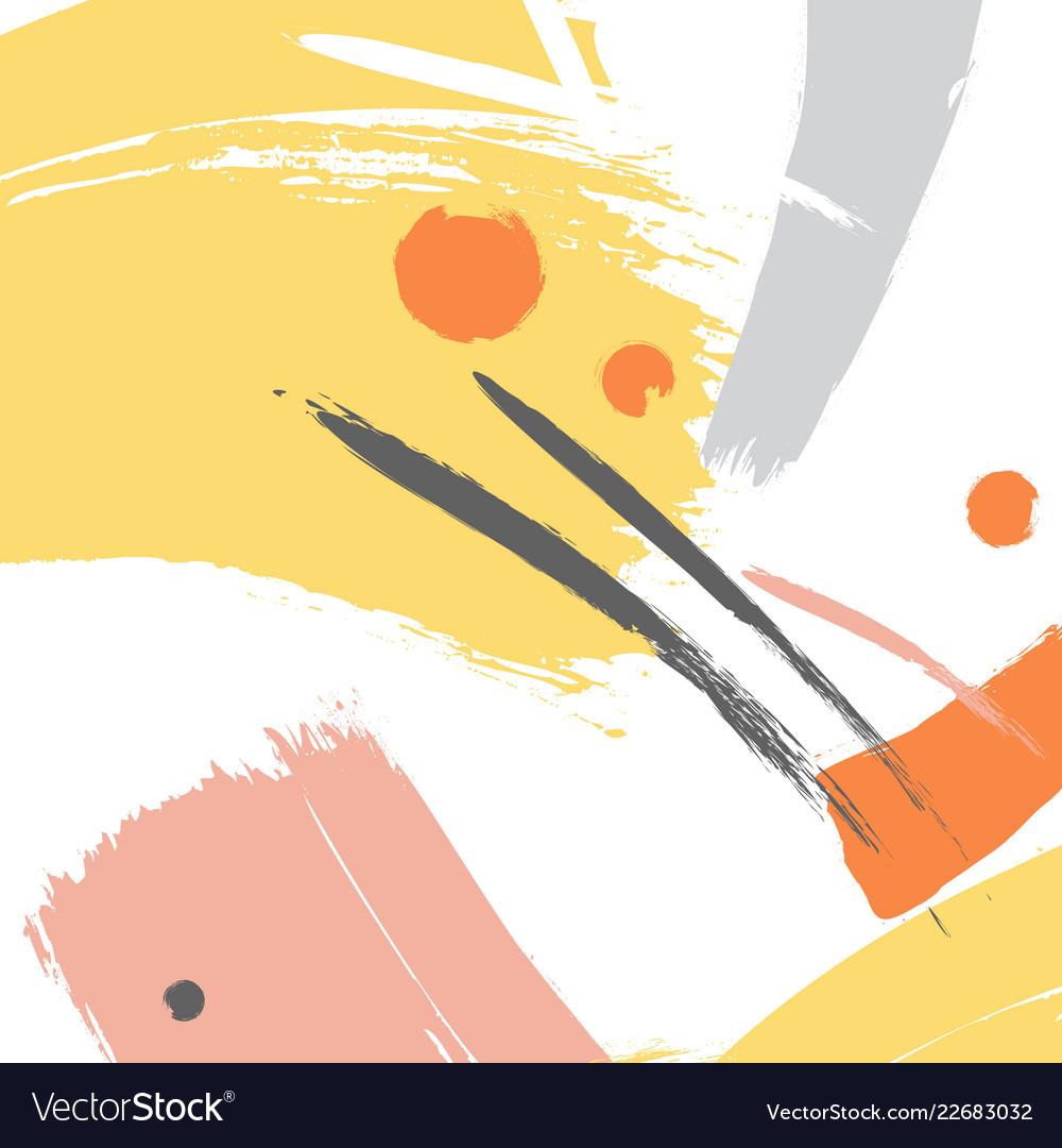 Yellow color brush orange stroke