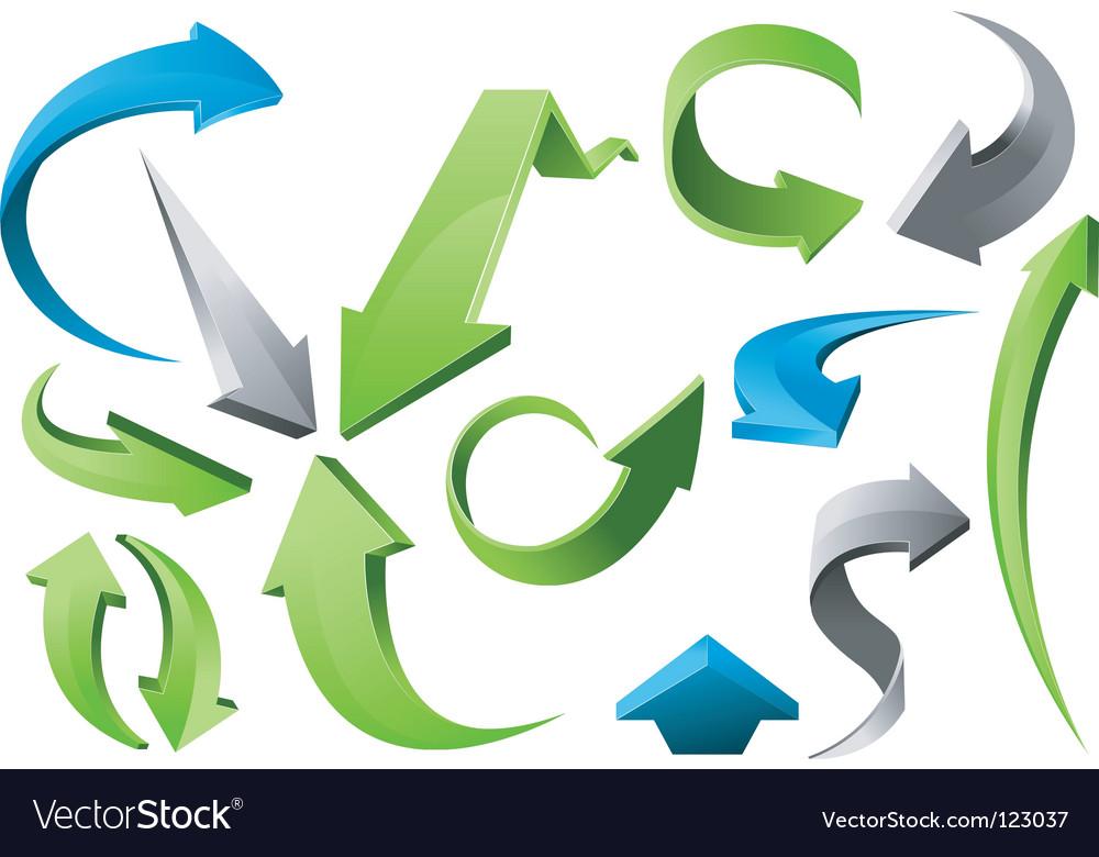 3D arrow signs vector image