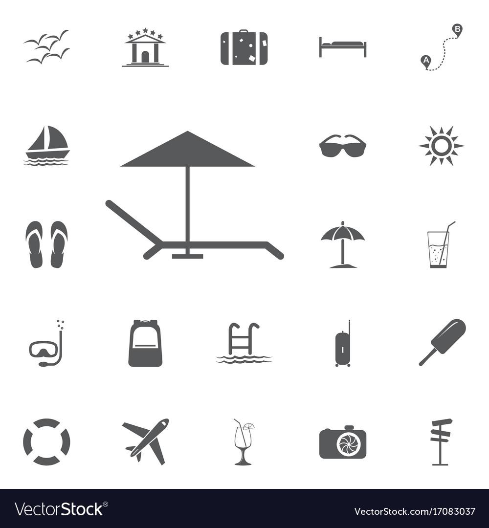 Beach umbrella and lounger icon flat