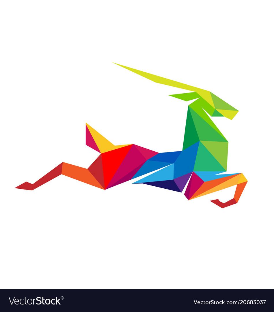 Creative abstract colorful gazelle logo