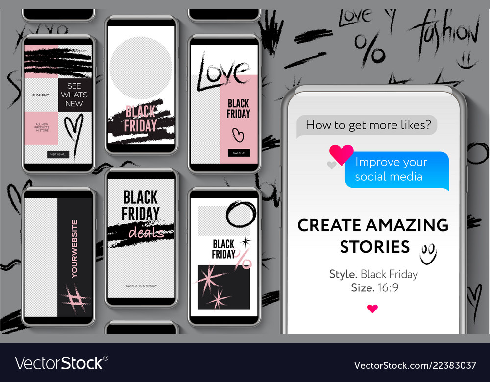 Editable instagram stories template black friday