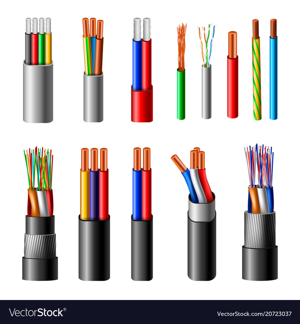 Electrical cables realistic set