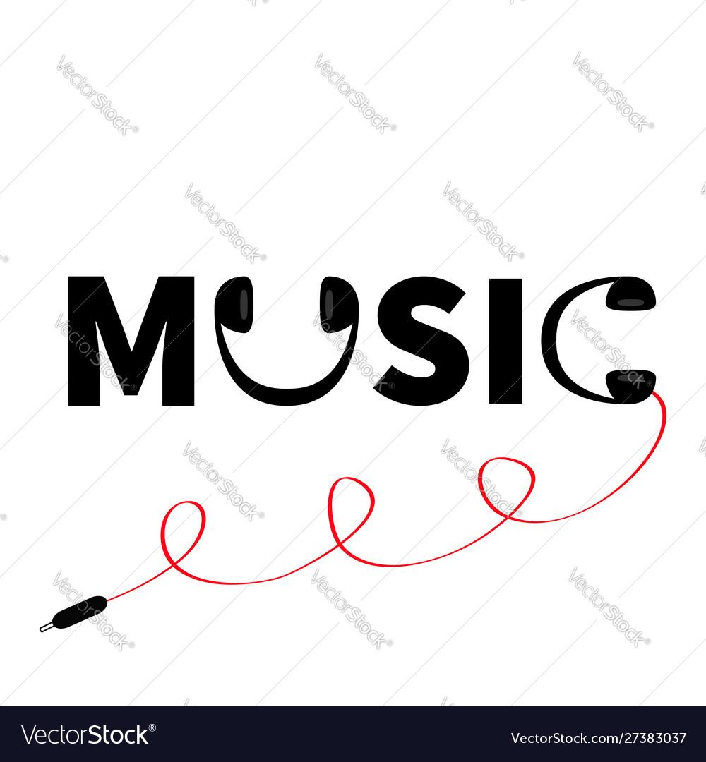 Headphones earphones icon word music red cord