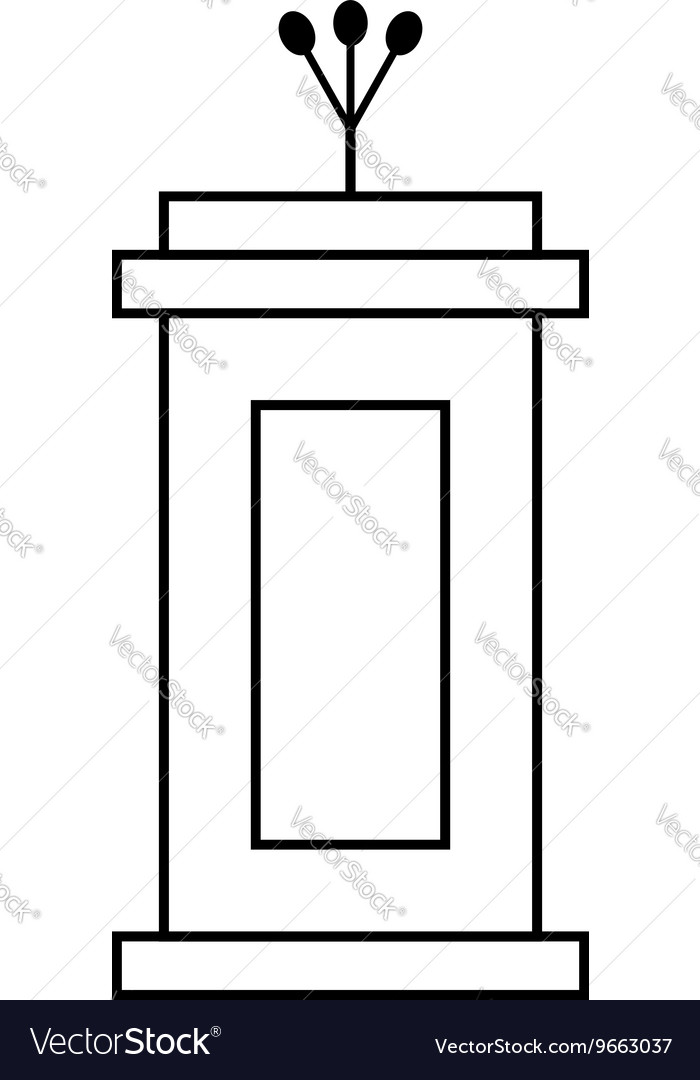 Outline black tribune icon isolated on white vector image