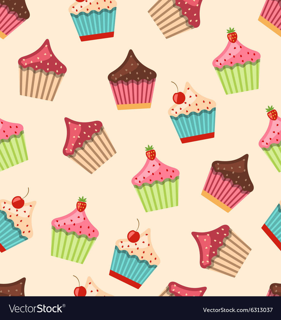 Seamless Pattern with Different Muffins