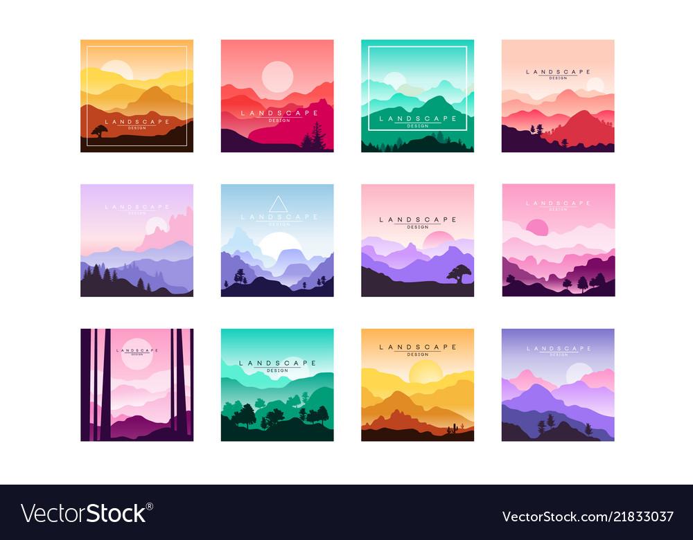 Set of minimalistic flat original landscapes