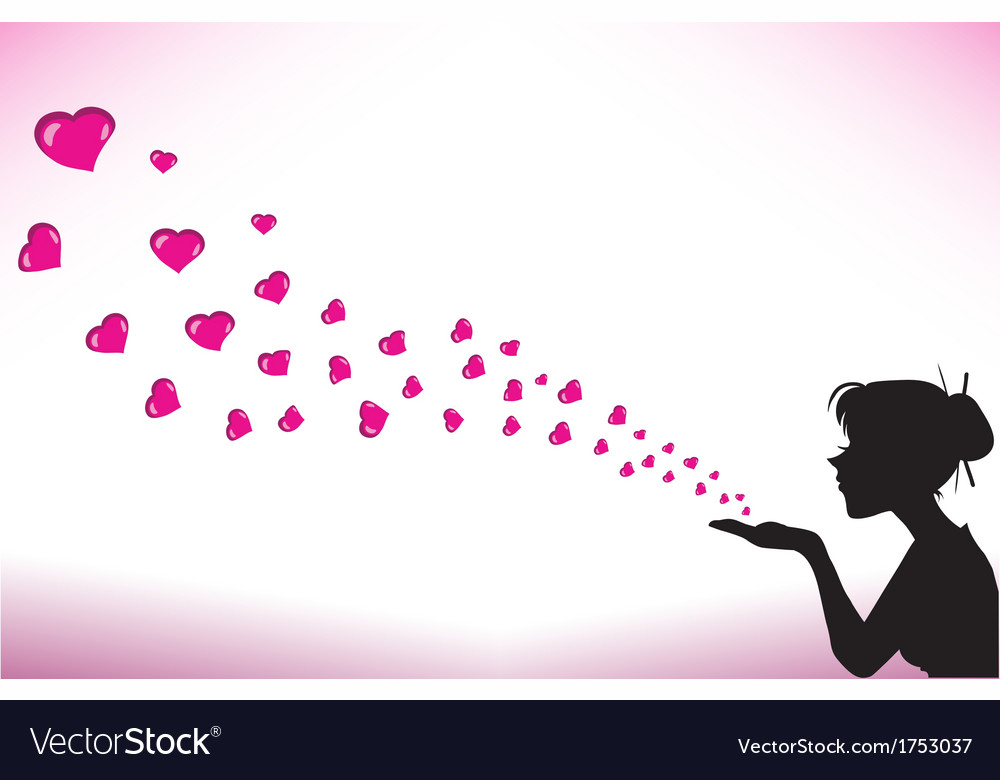 Silhouette woman with hearts vector image