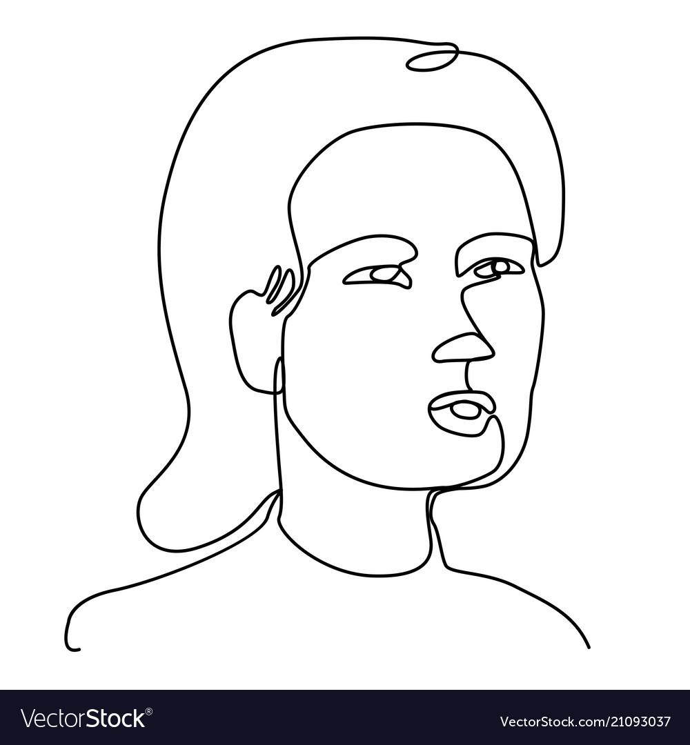 Surprised woman one line art portrait