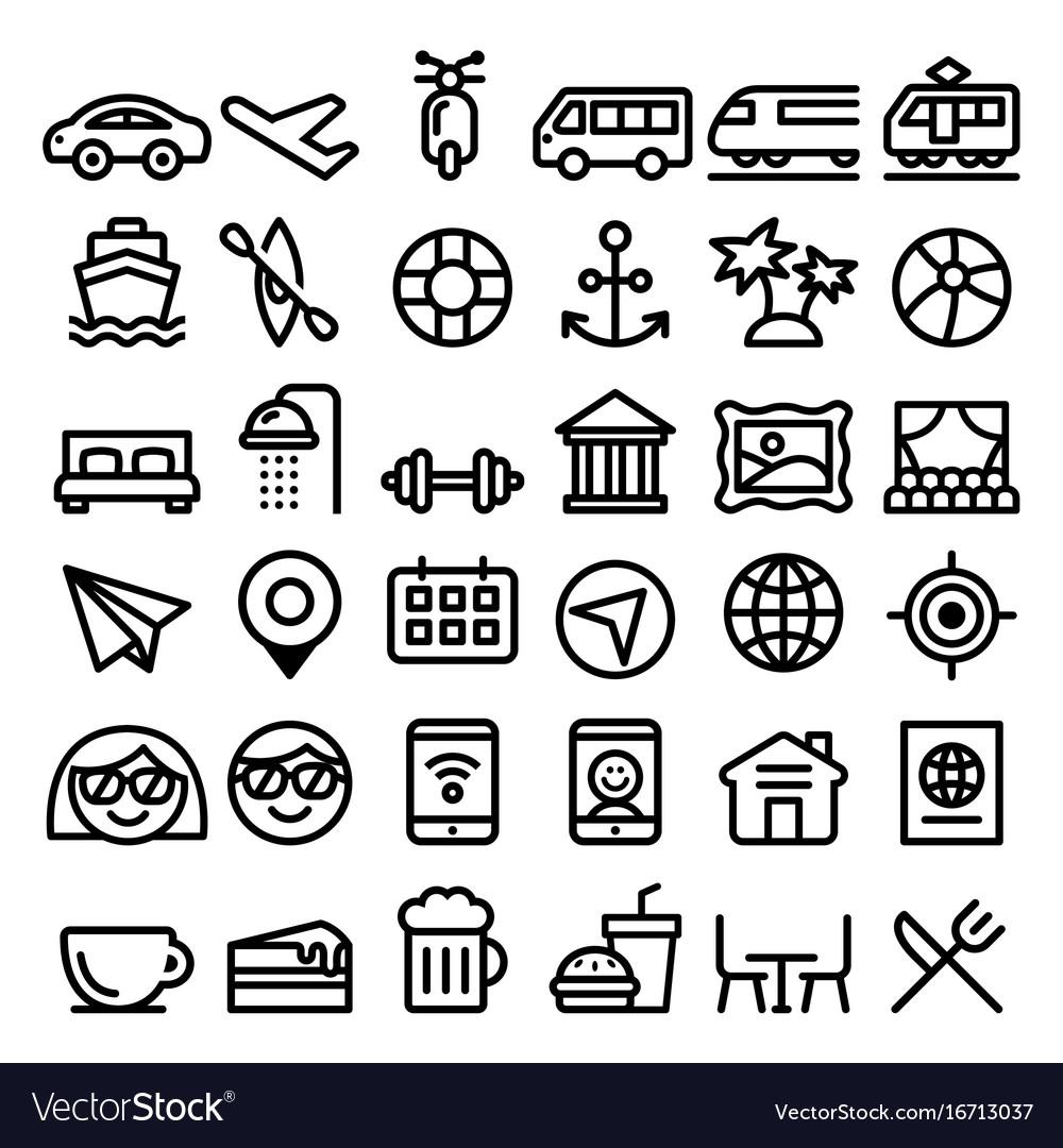 Travel line icons set transport holidays