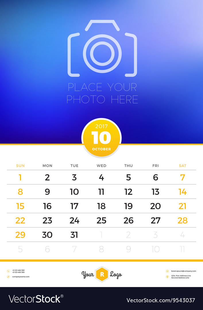 Wall Calendar Template for 2017 Year October vector image