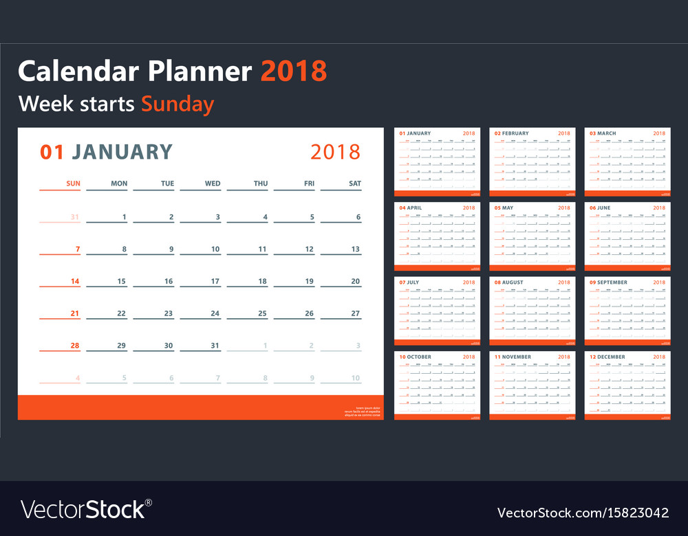 Calendar 2018 starts sunday calendar