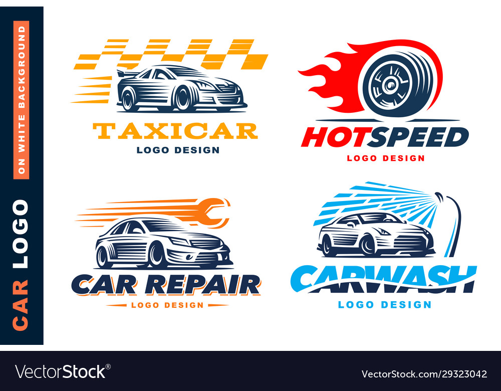 Collection logos car taxi service wash vector
