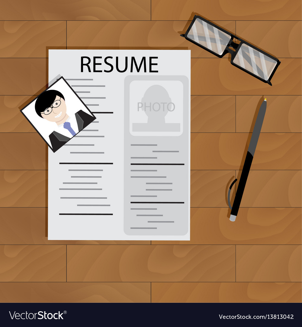 Create resume desktop top view vector image