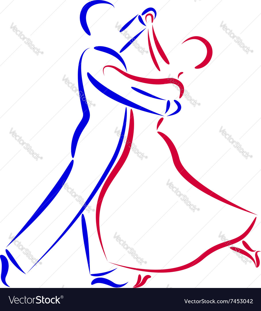 Dancing couple logo isolated on white background