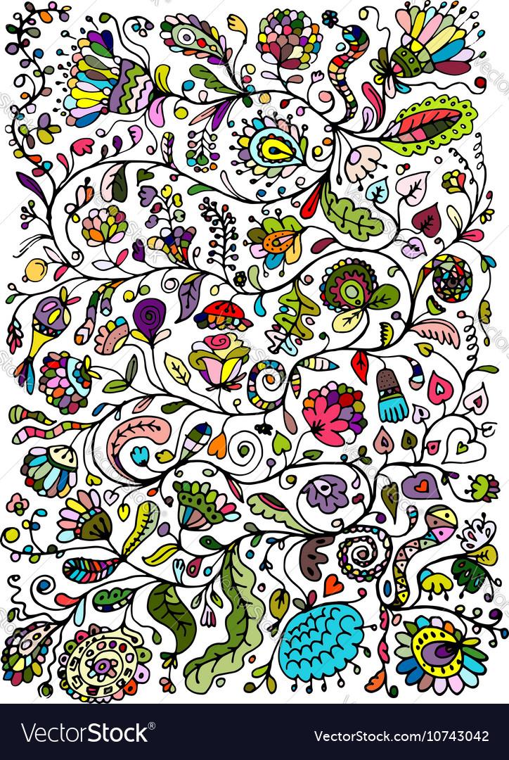 Floral pattern sketch for your design