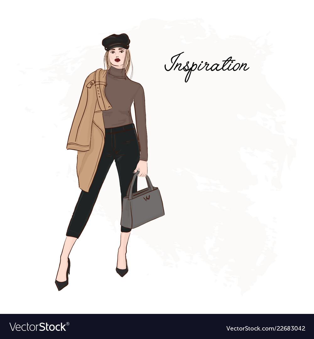Girl in trendy cap coat pants and sweater sketch