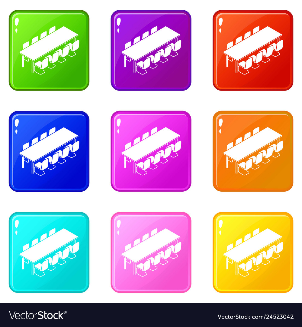 Long meet table icons set 9 color collection
