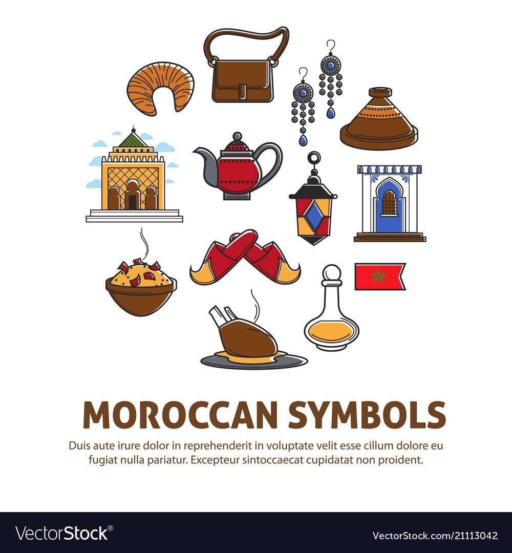 Moroccan Symbols Promo Poster With Cultural Vector Image