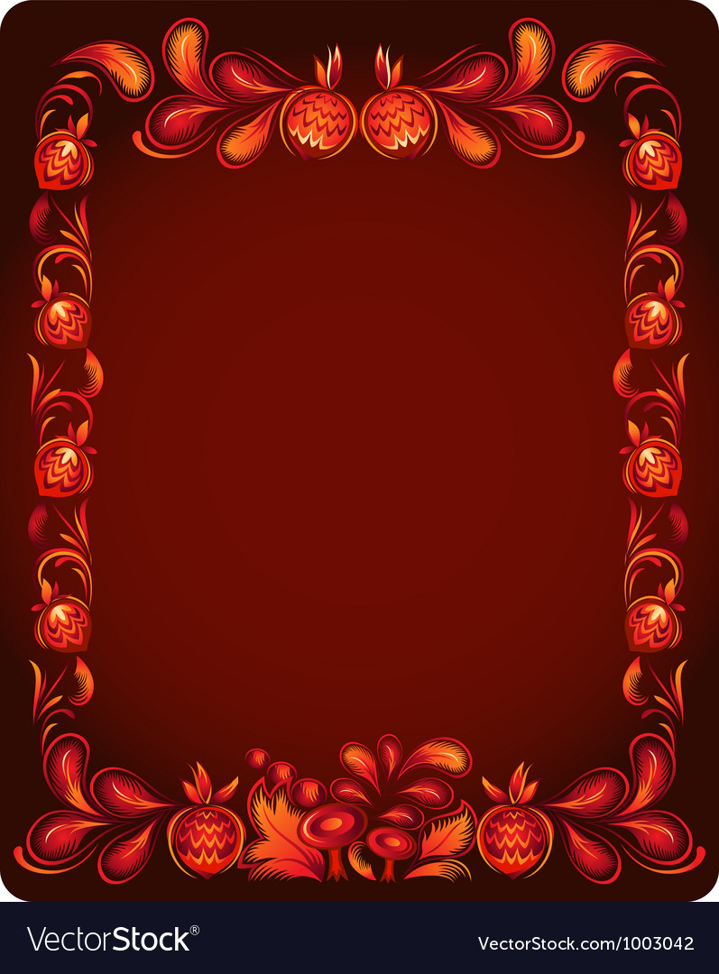 Red background with nuts and leaves vector image