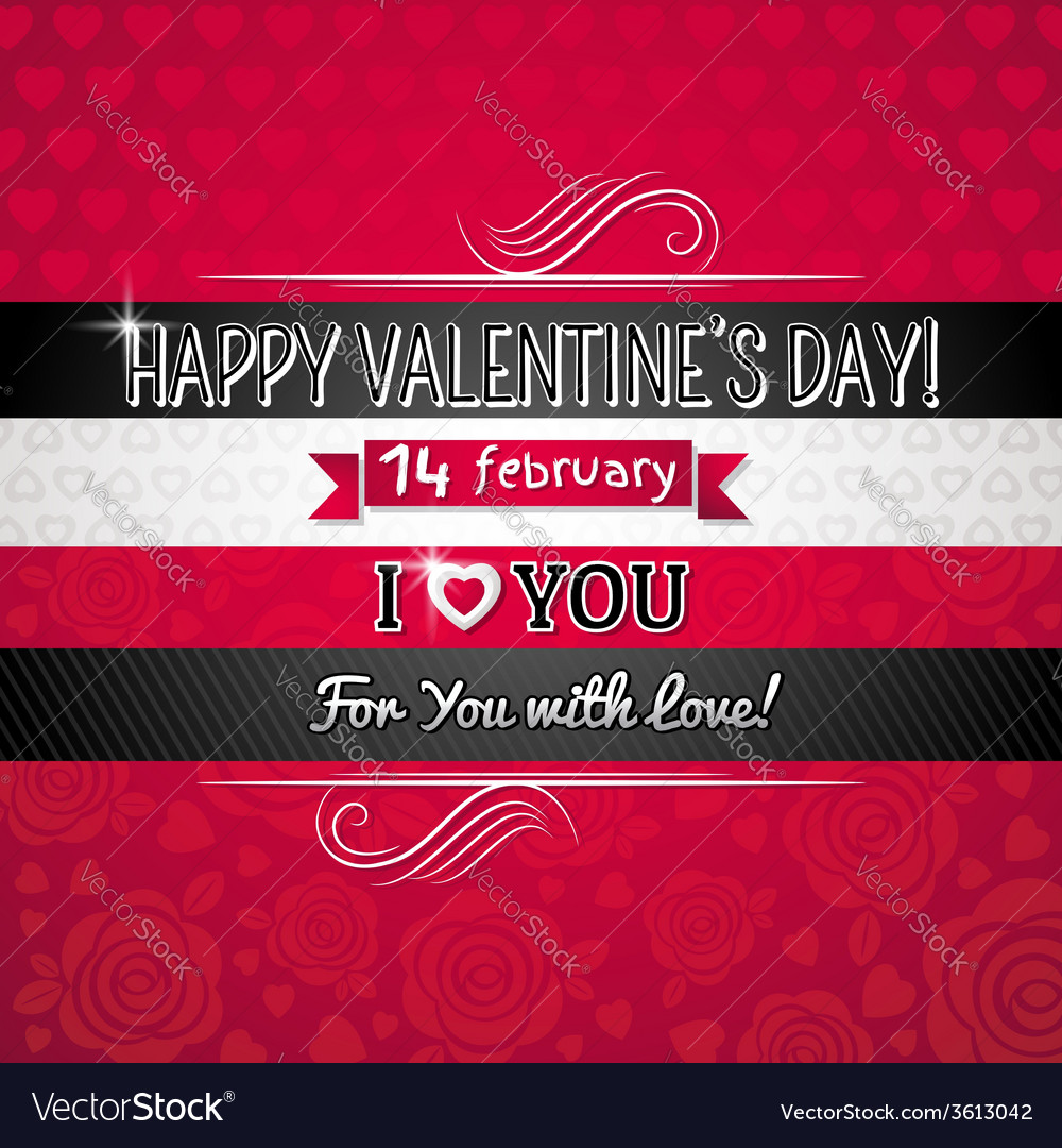 Red color background with valentine heart vector image