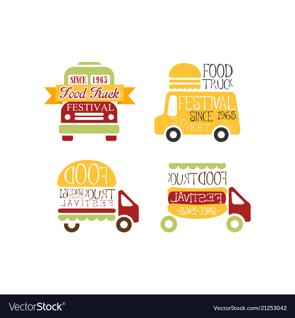 set of abstract logo templates for food truck vector image