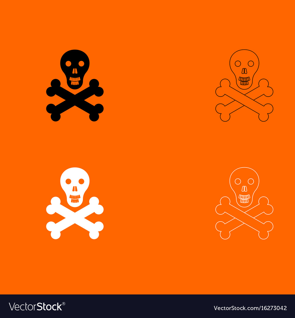 Skull and bones black and white set icon